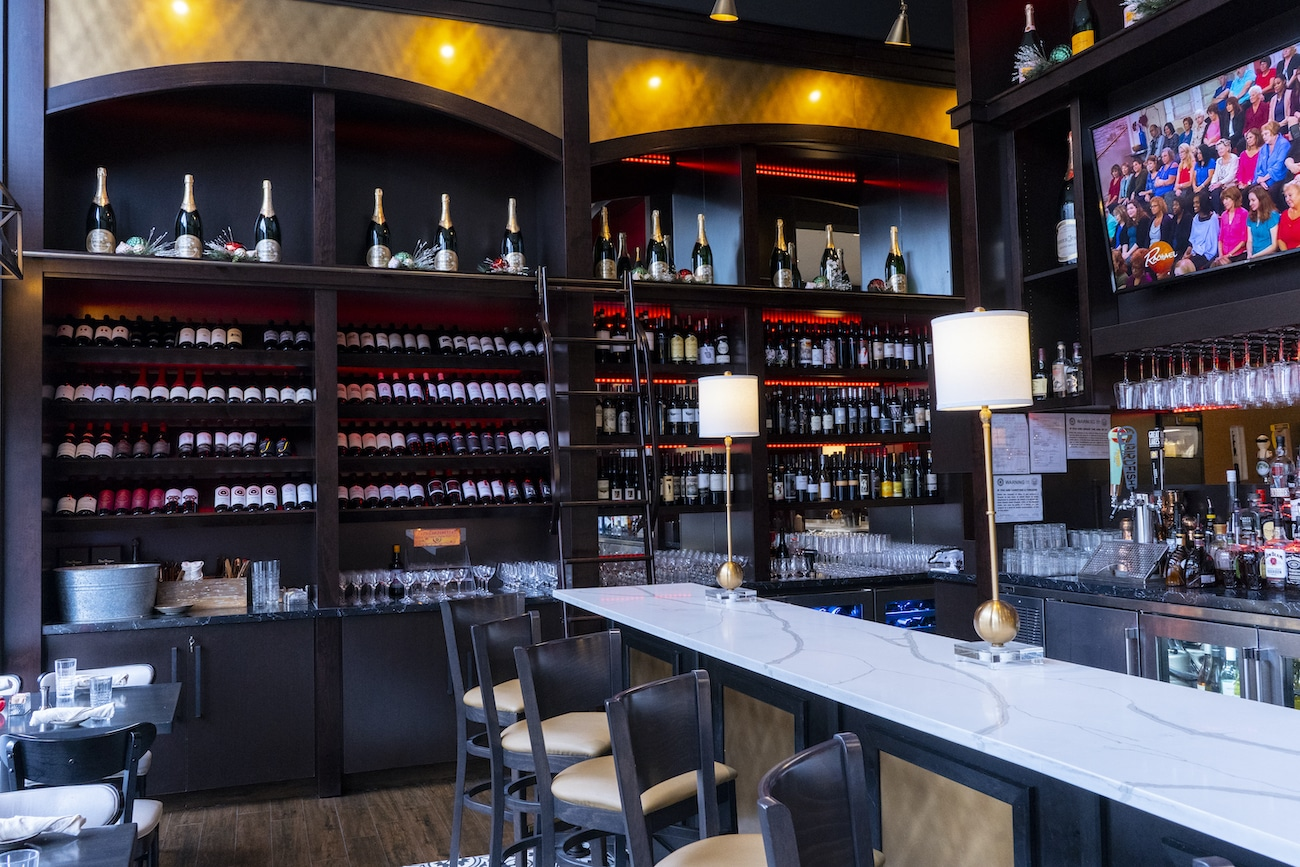 The bar and wine cabinet at the Bistro